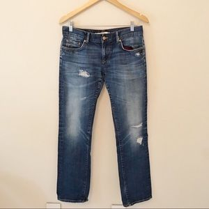 Zara Distressed Straight Leg Jeans